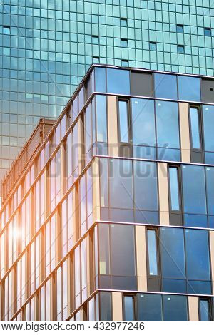 Glass Office Building In City Center On A Background Close Up. Urban Architecture Of Building Busine