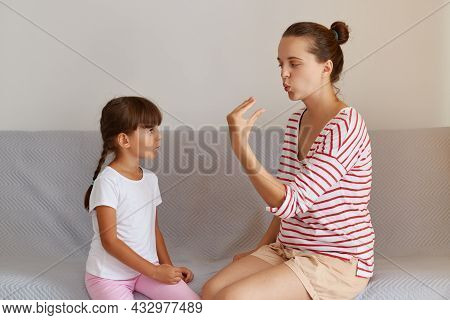 Cute Charming Little Kid Learning Right Sounds Pronunciation With Professional Female Physiotherapis