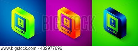 Isometric Book With Mathematics Icon Isolated On Blue, Purple And Green Background. Math Book. Educa