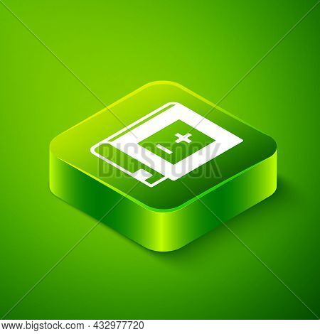 Isometric Book With Mathematics Icon Isolated On Green Background. Math Book. Education Concept Abou