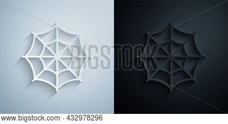 Paper Cut Spider Web Icon Isolated On Grey And Black Background. Cobweb Sign. Happy Halloween Party.