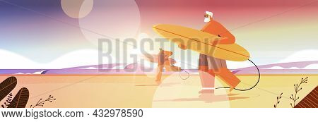 Senior Couple With Surf Boards Aged Man Woman Surfers Holding Surfboards Summer Vacation Active Old