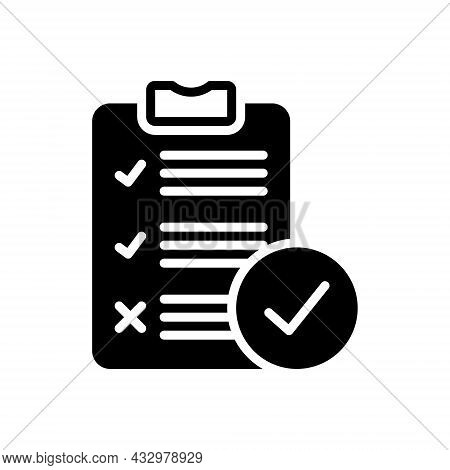 Black Solid Icon For Survey Analysis Check Inquiry Review Report List Clipboard Document Note Paper