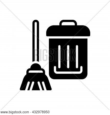 Black Solid Icon For Clean Squeaky-clean Distinguishable  Cleanly Cleaning Wash Sweeping Bucket Hous