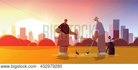 Senior Woman Man Couple Playing Golf Aged Family Players Taking A Shot Active Old Age Concept Citysc