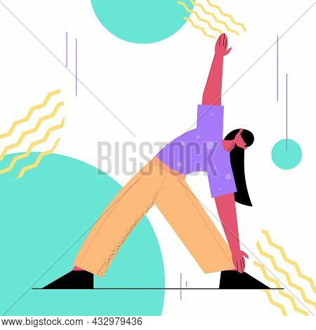 Woman Doing Yoga Fitness Exercises Training Healthy Lifestyle Active Old Age Concept