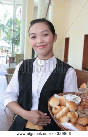 Waitress Or Greeter At Work Smiling
