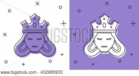 Set Princess Or Queen Wearing Her Crown Icon Isolated On White And Purple Background. Medieval Lady.
