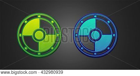 Green And Blue Round Wooden Shield Icon Isolated On Black Background. Security, Safety, Protection,