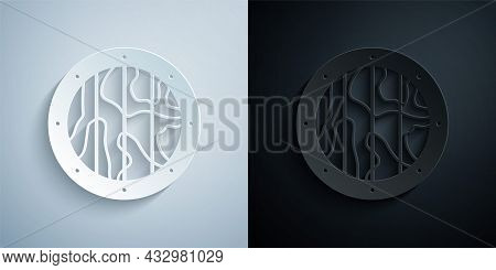 Paper Cut Round Wooden Shield Icon Isolated On Grey And Black Background. Security, Safety, Protecti
