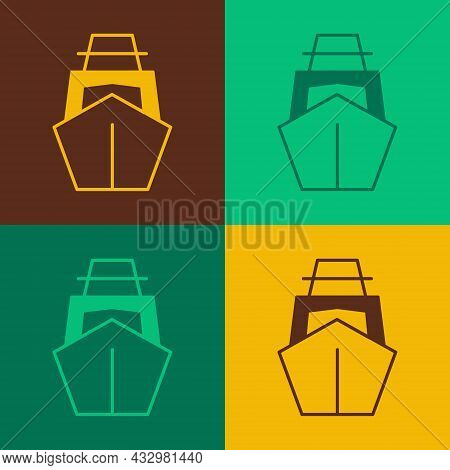 Pop Art Yacht Sailboat Or Sailing Ship Icon Isolated On Color Background. Sail Boat Marine Cruise Tr