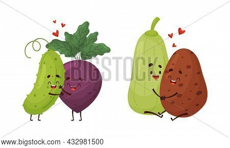 Cute Vegetable Couples Embracing And Hugging Vector Set