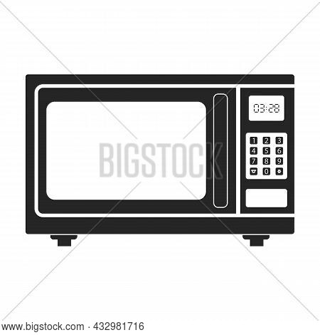 Microwave Oven Vector Icon.black Vector Icon Isolated On White Background Microwave Oven.