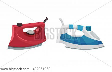 Clothes Iron As Home Appliance For Removing Creases On Clothing Vector Set