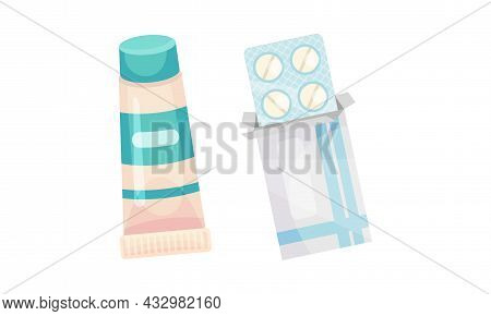 Blister Pack With Tablet Or Pill And Tube As Pharmaceutical Medication Vector Set