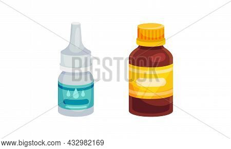 Nasal Drops And Vial With Tablet Or Pill As Pharmaceutical Medication Vector Set