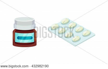 Vial And Blister Pack With Tablet Or Pill As Pharmaceutical Medication Vector Set