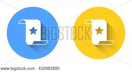 White Paper Check And Financial Check Icon Isolated With Long Shadow Background. Paper Print Check,
