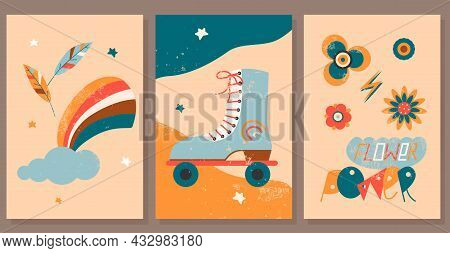 Set Of Vintage Hippie Posters. Retro Seventies Hipster Style. Flat Vector Illustration For Card, Pri