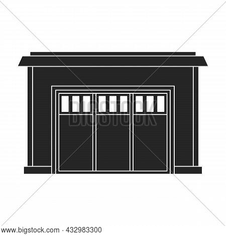 Garage Of Building Vector Icon.black Vector Icon Isolated On White Background Garage Of Building.