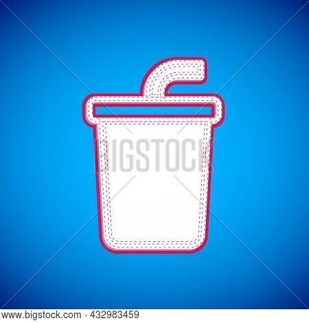 White Paper Glass With Drinking Straw And Water Icon Isolated On Blue Background. Soda Drink Glass.