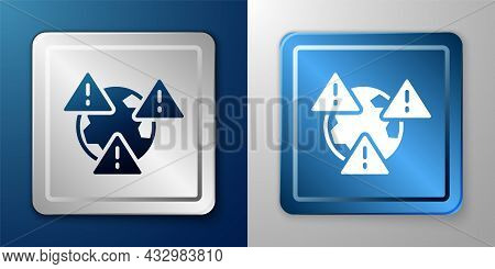 White Planet Earth Symbol With Exclamation Mark Icon Isolated On Blue And Grey Background. Global Ea