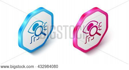 Isometric Eye Scan Icon Isolated On White Background. Retinal Scan. Scanning Eye. Security Check Sym