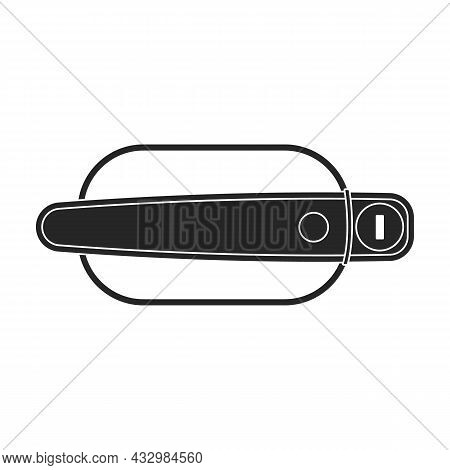 Handle Door Vector Black Icon. Vector Illustration Handle Door Car On White Background. Isolated Bla