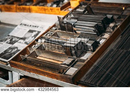 Close Up Of Typesetting Linotype Machine, Imprint. Paper Mill Museum. Famous Landmark, Historical He