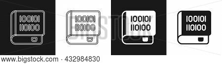 Set Books About Programming Icon Isolated On Black And White Background. Programming Language Concep