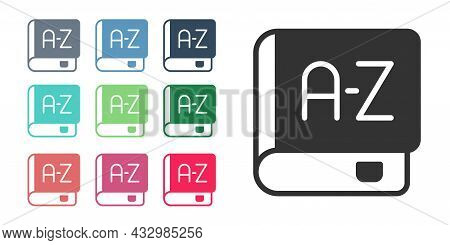 Black Translator Book Icon Isolated On White Background. Foreign Language Conversation Icons In Chat