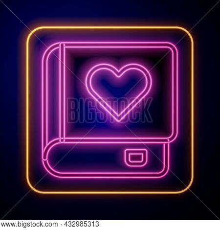 Glowing Neon Romance Book Icon Isolated On Black Background. Vector