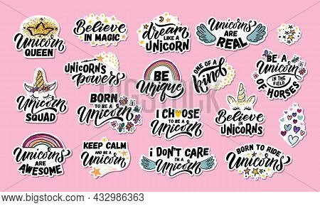 Hand Sketched Unicorn Vector Illustration With Lettering Typography Quotes. Motivational Quotes Conc