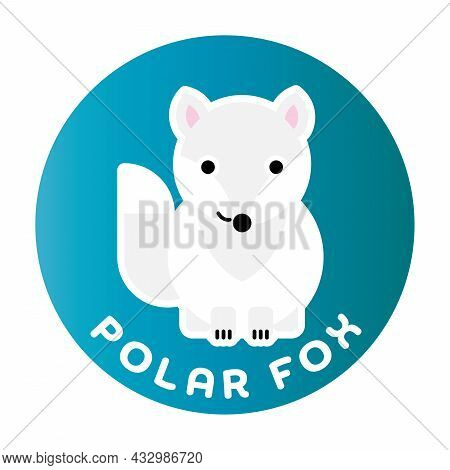 Happy Arctic Fox - Funny Cartoon Animal. Children Character. Simple Vector Illustration With Dropped