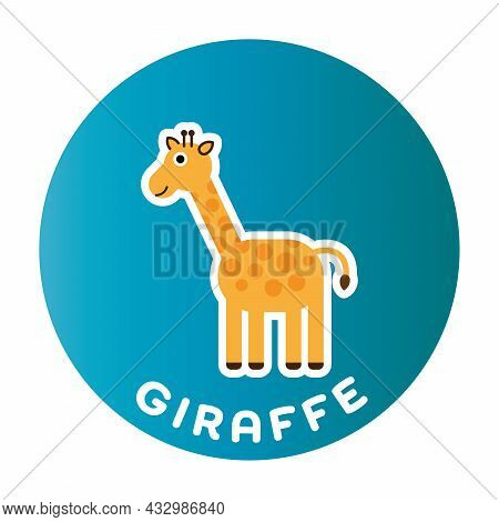 Happy Giraffe - Funny Cartoon Animal. Children Character. Simple Vector Illustration With Dropped Sh