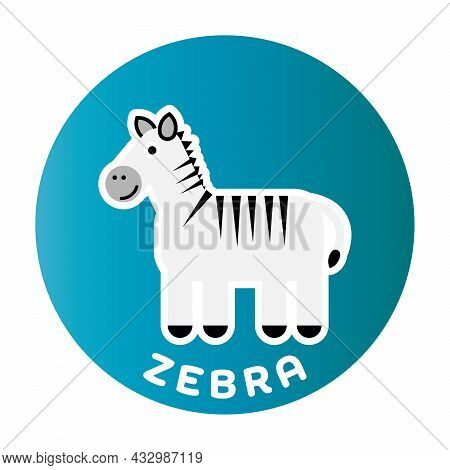 Happy Zebra - Funny Cartoon Animal. Children Character. Simple Vector Illustration With Dropped Shad