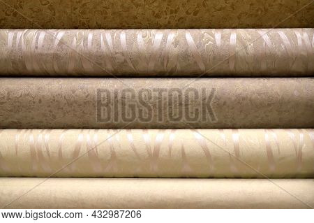 Rolls Of Vinyl Wallpaper For Finishing Walls. Different Textures, Colors, Background. Wallpapers Wit