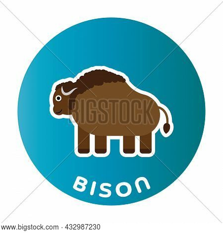 Happy Bison - Funny Cartoon Animal. Children Character. Simple Vector Illustration With Dropped Shad