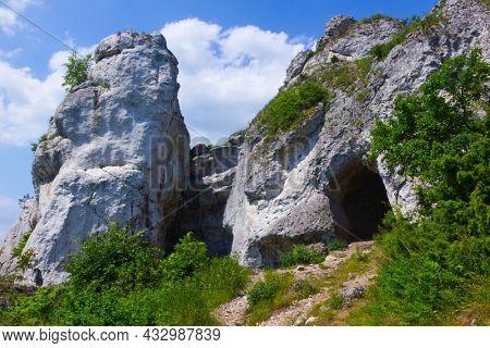 Limestone climbing rocks at mountain Gora Zborow, Podlesice, Poland