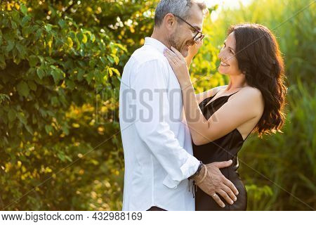 Portrait Of Happy Elderly Couple Hugging Together, Caring And Loving With Good Relationships, Good H