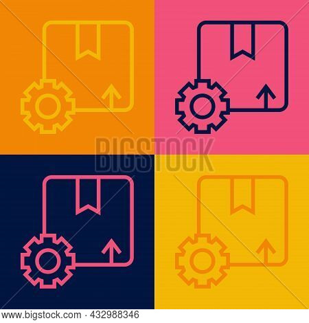 Pop Art Line Gear Wheel With Package Box Icon Isolated On Color Background. Box, Package, Parcel Sig