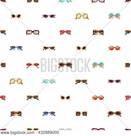 Seamless Pattern With Modern And Retro Sunglasses On White Background. Repeating Backdrop With Rows