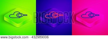 Isometric Line Medical Heart Inspection Icon Isolated On Green, Blue And Pink Background. Heart Magn