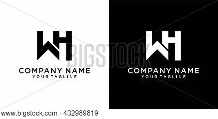 Wh Or Hw Initial Letter Logo Design Vector On Black And White Background.