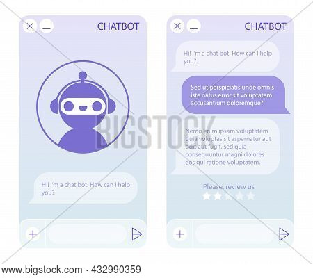 Chat Bot Window With Start Page. User Interface Of Application With Online Dialogue. Conversation Wi