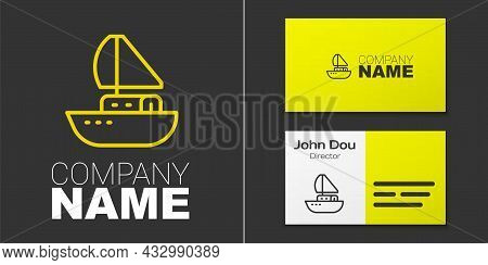 Logotype Line Yacht Sailboat Or Sailing Ship Icon Isolated On Grey Background. Sail Boat Marine Crui