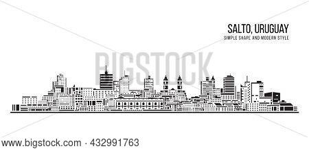 Cityscape Building Abstract Simple Shape And Modern Style Art Vector Design - Salto, Uruguay
