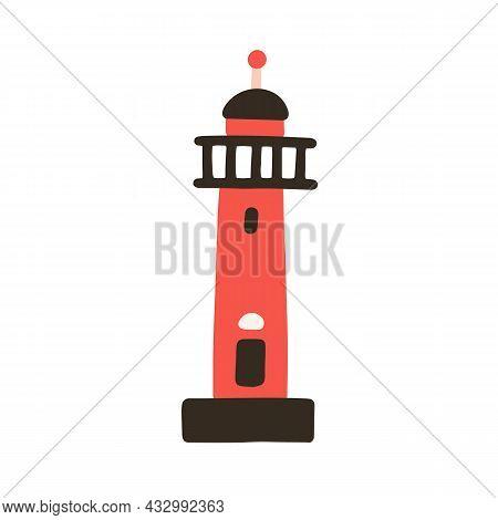 Lighthouse Building In Doodle Style. Sea Coast Architecture. Marine Nautical Coastal Tower. High Lig