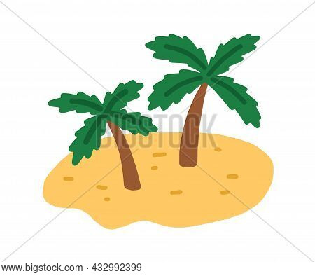 Sand Island With Palm Trees. Tropical Deserted Uninhabited Land With Exotic Plants And Sandy Beach I