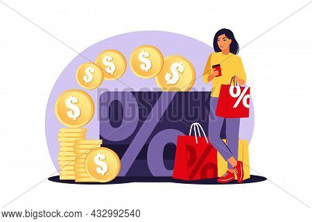 Discounts Concept. Discount And Loyalty Card. Price Reduction Promotional Coupons. Special Holiday O